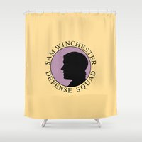 sam winchester Shower Curtains featuring Sam Winchester Defense Squad by Golden Irises