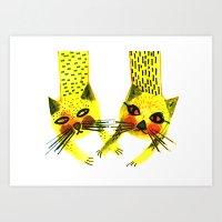 Yellow Cats Art Print