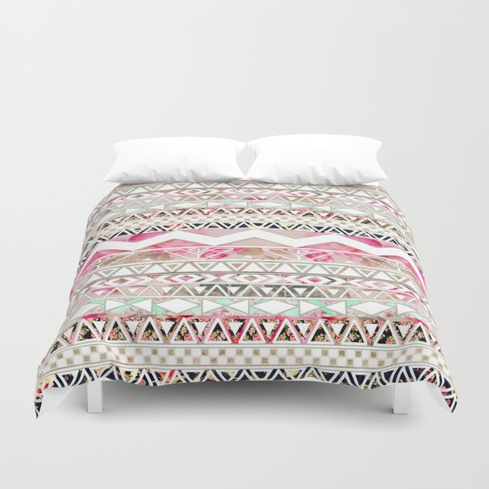 Aztec Spring Time! | Girly Pink White Floral Abstract Aztec Pattern Duvet Cover