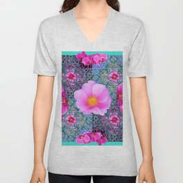 AQUA PINK ROSES & ORCHIDS GREEN-BLACK ART Unisex V-Neck