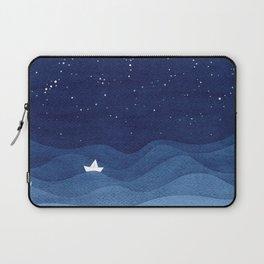 blue ocean waves, sailboat ocean stars Laptop Sleeve