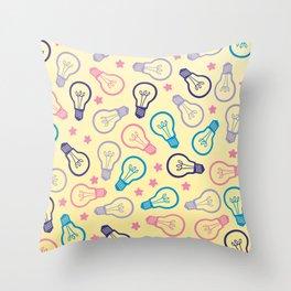 Cute Pastels Light bulb Pattern Throw Pillow
