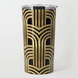 3-D Art Deco Sultry Cuban Nights Gold Pattern Travel Mug