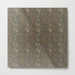 Fruity mauve green faux gold sweetie pattern Metal Print