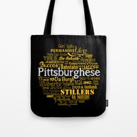 steelers Tote Bags featuring Pittsburghese by Henderson GDI