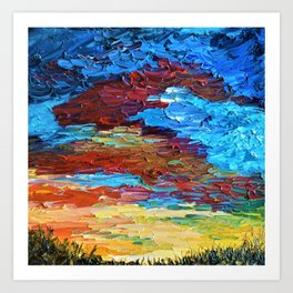 Evening Sunset - Abstract Sky Oil Painting Art Print