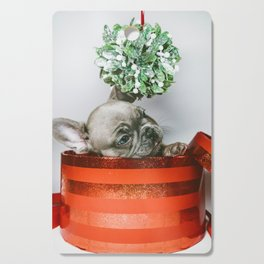 Christmas Pup in a Present with Mistletoe (Color) Cutting Board