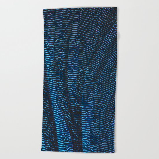 Dragonfly shiny vibrant blue wings Beach Towel