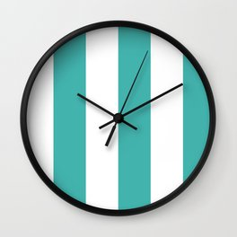 Wide Vertical Stripes - White and Verdigris Wall Clock