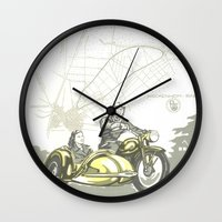 motorbike Wall Clocks featuring Vintage Hockenheim Motorbike Ad by Christine aka stine1