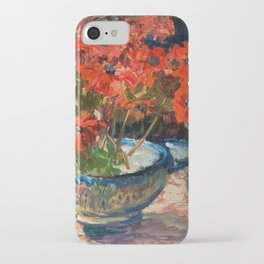 Still Life with Red Flowers floral portrait painting Helene Cramer iPhone Case
