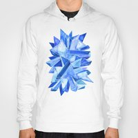 geode Hoodies featuring Sapphire Watercolor Facets by Cat Coquillette