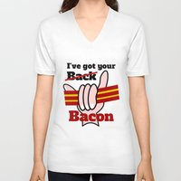 bacon V-neck T-shirts featuring Bacon by mailboxdisco