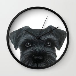 Black Schnauzer, Dog illustration original painting print Wall Clock