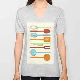 Kitchen Utensil Colored Silhouettes on Cream II Unisex V-Neck