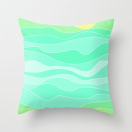 Ocean sunrise, waves in blue and green print  Throw Pillow