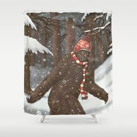 sasquatch Shower Curtains featuring Everyone Gets Cold by Terry Fan