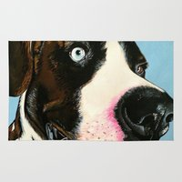 great dane Area & Throw Rugs featuring Pauly the Great Dane Mix by pawtraitz