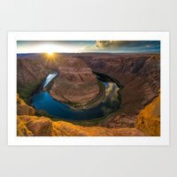 Sunset at the Bend Art Print