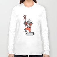 lacrosse Long Sleeve T-shirts featuring Gorilla Lacrosse Player Cartoon by patrimonio