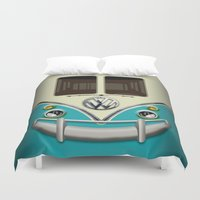 vans Duvet Covers featuring Special Gift for Summer Holiday blue teal minivan minibus iPhone 4 4s 5 5c 6, pillow case and mugs by Three Second