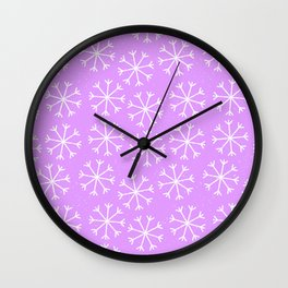 Hand painted modern lilac white Christmas snow flakes Wall Clock