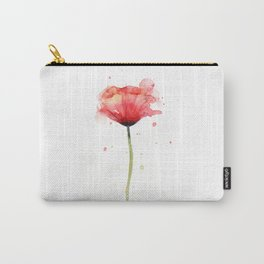 Red Poppy Watercolor Flower Floral Carry-All Pouch