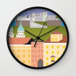 Salzburg, Austria - Skyline Illustration by Loose Petals Wall Clock