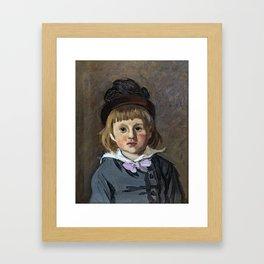 Portrait of his son Jean Monet in a pompom bonnet Framed Art Print