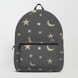 Gold and silver moon and star pattern on grey background Backpack