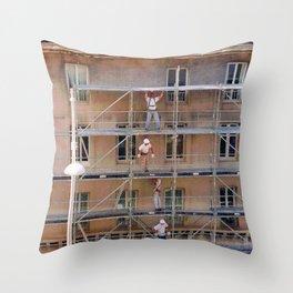 Men On Scaffolding Throw Pillow