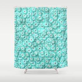Teal daisy flowers Shower Curtain