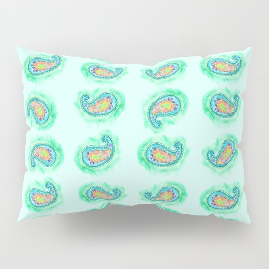Aqua Paisley Watercolor Pillow Sham