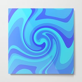 Shades Of Blue Swirl Metal Print