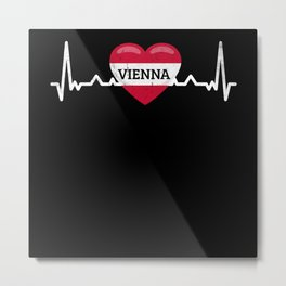 Vienna Heartbeat Austria Flag Designs Wien Metal Print