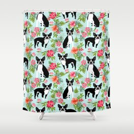 Boston Terrier florals tropical hawaiian print dog breeds custom dog art pet portraits Shower Curtain