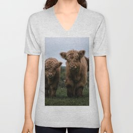 Scottish Highland Cattle Calves - Babies playing II Unisex V-Neck