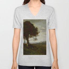 """Jean-Baptiste-Camille Corot """"Landscape"""" Unisex V-Neck"""