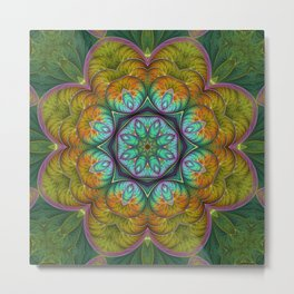 Spring Explosion Fractal Flowers Mandala Metal Print