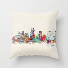 london city skyline watercolor Throw Pillow