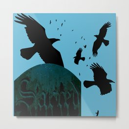 Sacred Gothic Text Gravestone With Crows and Ravens Metal Print