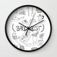 breakfast Wall Clocks featuring Breakfast by Brooke Weeber