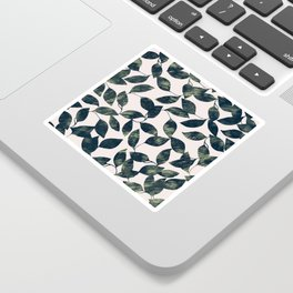 Abstract pink forest green mint leaves greenery Sticker