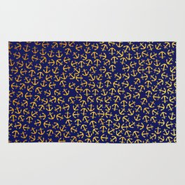 Maritime Anchors pattern- gold anchors on darkblue background Rug