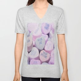 Kiss Me Love Candy Hearts Unisex V-Neck