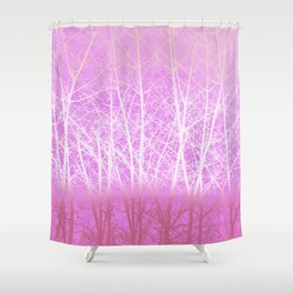 Frosted Winter Branches in Misty Pink Shower Curtain