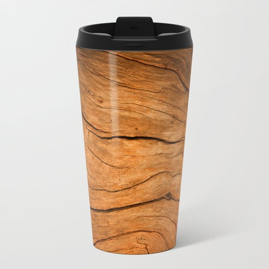 Wood Texture 99 Metal Travel Mug