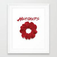 heathers Framed Art Prints featuring Heathers Scrunchie Poster by tangofox