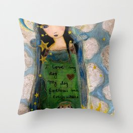 In heaven with my Dog by Flor Larios Throw Pillow
