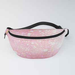 Modern abstract pink teal white watercolor splatters Fanny Pack